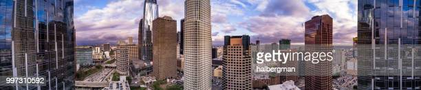 DTLA Financial District Skyscrapers - Aerial Panorama