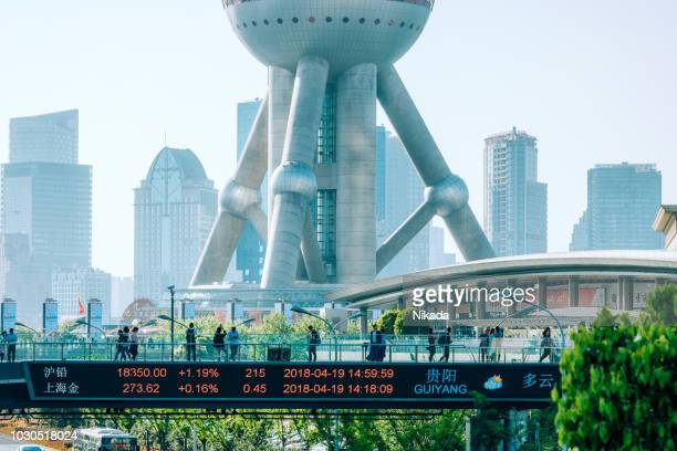 financial district with oriental pearl tower, pudong, shanghai, china - pudong stock pictures, royalty-free photos & images