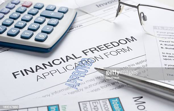 Financial freedom concept with apporoved application