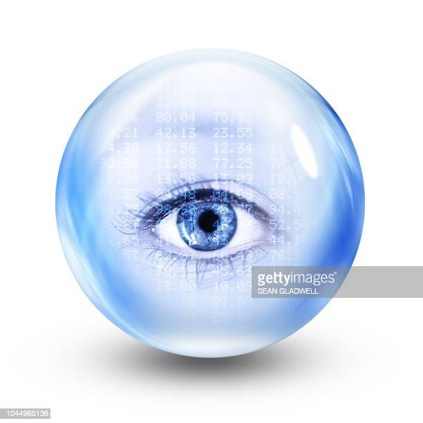 financial glass eye sphere - bank icon stock photos and pictures