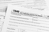 Financial IRS tax return forms