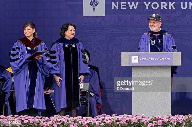TV financial journalist Maria Bartiromo US Supreme Court Justice Sonia Sotomayor and NYU President John Sexton attend the 2012 New York University...