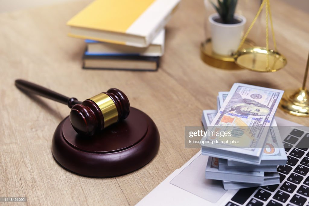 Financial Law concept , Law and Money, Financial Institution Law,corruption : Stock Photo
