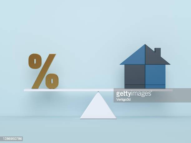 financial management concept. housing mortgage and risks - percentage sign stock pictures, royalty-free photos & images