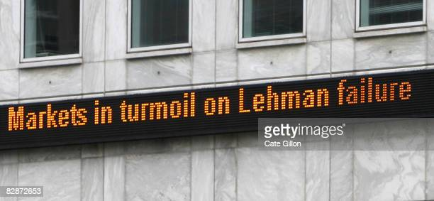 A financial news update in Canary Wharf on September 15 2008 in London England The fourth largest American investment bank has announced that it's...