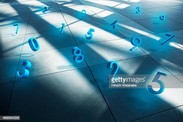 Financial numbers on floor
