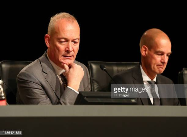 Financial operations guide Thomas Tress sits next to director Carsten Cramer during the Borussia Dortmund General Assembly on November 25 2018 in...
