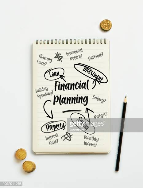 Financial planning brainstorming memo pad.