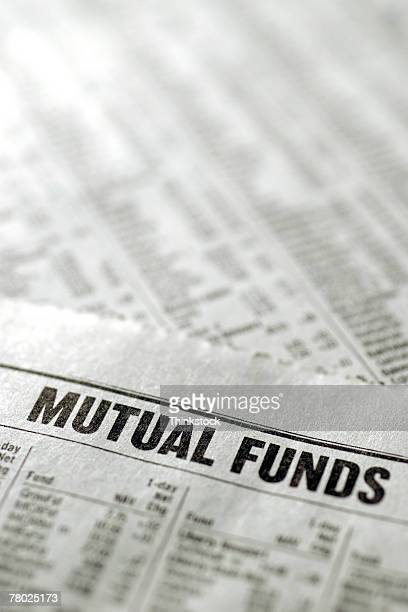 Financial section of newspaper