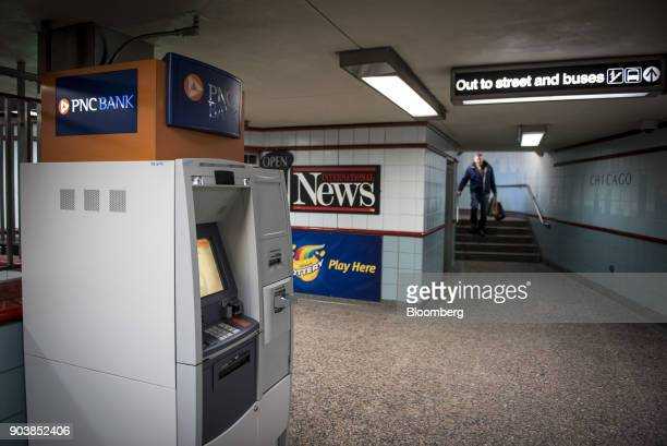 Financial Services Group Inc automatic teller machine stands at a subway station in downtown Chicago Illinois US on Tuesday Jan 9 2018 PNC Financial...