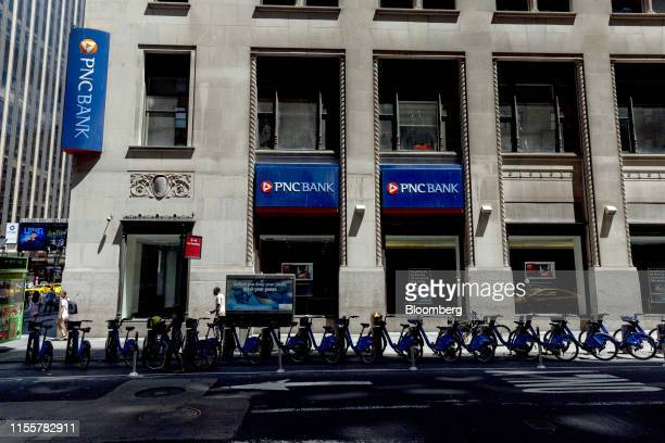 Financial Services Group Inc bank branch stands in New York US on Saturday July 13 2019 PNC Financial Services Group Inc is scheduled to release...