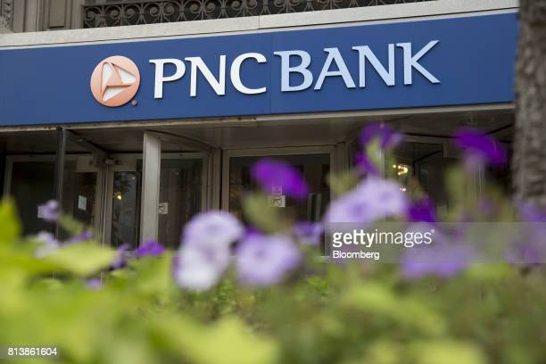PNC Financial Services Group Inc signage is displayed on the exterior of a bank branch in Peoria Illinois US on Monday July 10 2017 PNC Financial...