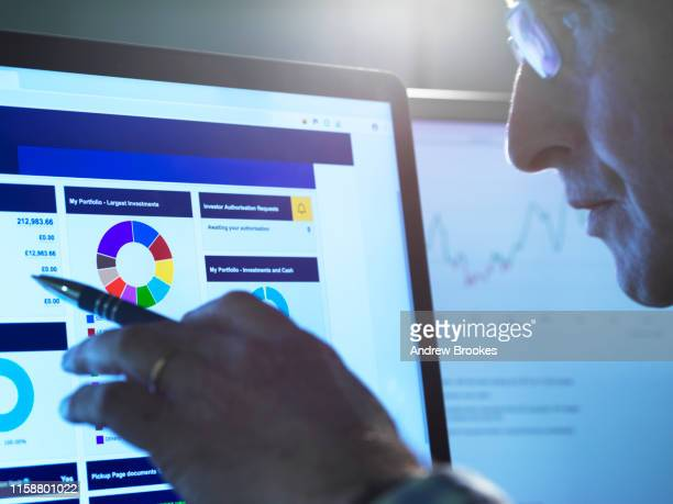 financial services, stock analyst researching share price data of a company on the computer - financial analyst stock pictures, royalty-free photos & images