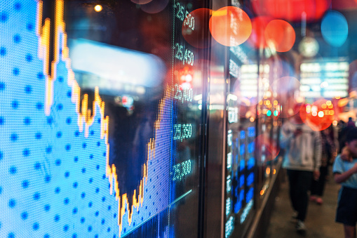 Financial stock exchange market display screen board on the street 1089667012