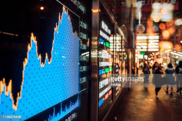 financial stock exchange market display screen board on the street - economy stock pictures, royalty-free photos & images