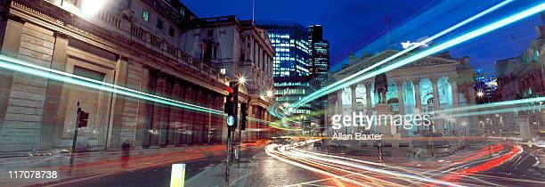 financial street in london - long exposure stock pictures, royalty-free photos & images