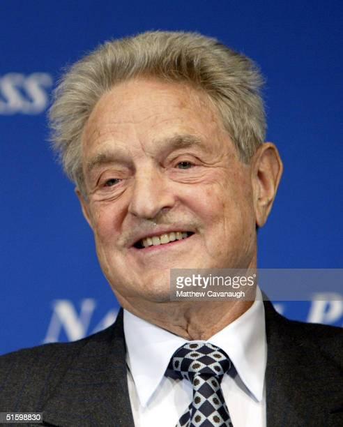 Financier and philanthropist George Soros speaks at the National Press Club October 28, 2004 in Washington, DC. Soros, the president of Soros Fund...