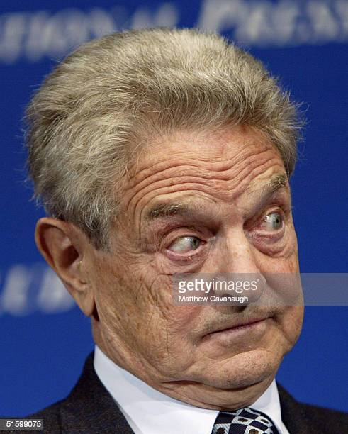 Financier and philanthropist listens to a question from the moderator at the National Press Club October 28 2004 in Washington DC Soros the president...