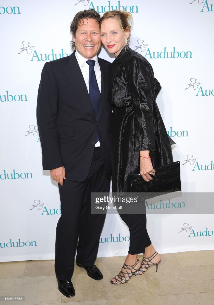 Financier Arpad Busson (L) and actress Uma Thurman attend the 2013 National Audubon Society Gala Dinner at The Plaza Hotel on January 17, 2013 in New York City.