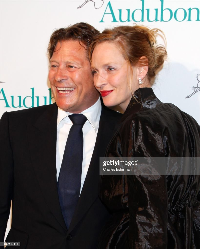 Financier Arpad Busson and actress Uma Thurman attend the 2013 National Audubon Society Gala Dinner on January 17, 2013 at The Plaza Hotel in New York, City.