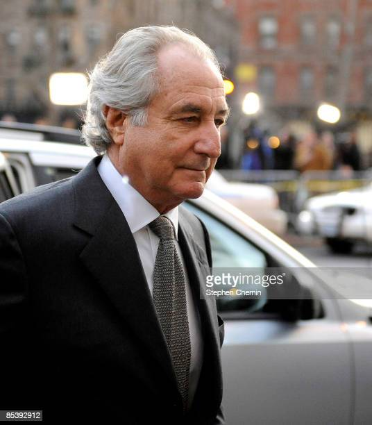 Financier Bernard Madoff arrives at Manhattan Federal court on March 12 2009 in New York City Madoff is scheduled to enter a guilty plea on 11 felony...