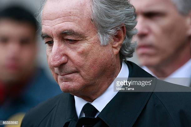 Financier Bernard Madoff leaves Manhattan Federal court March 10 2009 in New York City Madoff attended a court hearing regarding the conflicting...