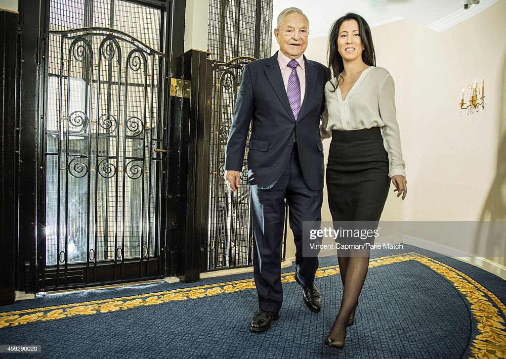 Financier George Soros with his wife Tamiko Bolton are photographed for Paris Match on November 5, 2014 in Paris, France.
