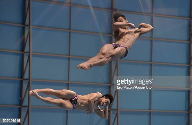 Fina/NVC Dving World Series 2014 at the London Aquatics Centre Queen Elizabeth Olympic Park UK Mens 3m Synchro Springboard diving final Team Malaysia...