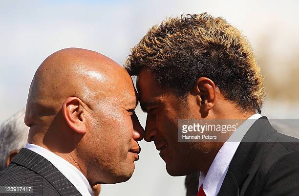 Finau Maka of Tonga takes part a traditional Maori Hongi during the Tonga IRB Rugby World Cup 2011 official team welcome ceremony at Papakura Marae...
