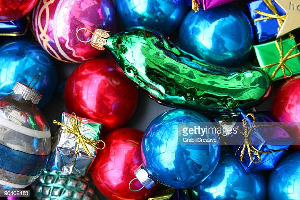 Find the Christmas Pickle: Glass Ornaments and Decorations Background