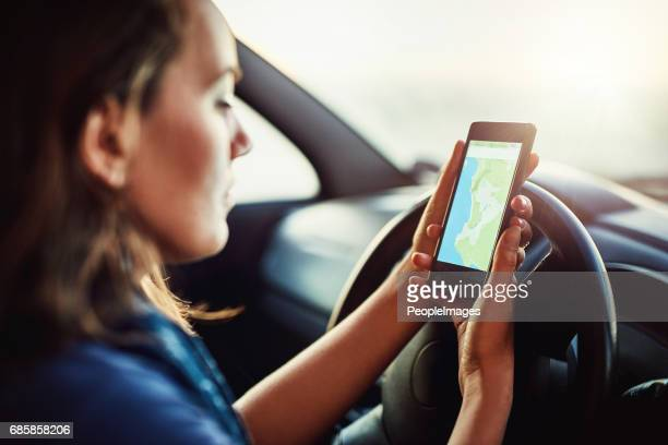 finding her way around - gps map stock photos and pictures