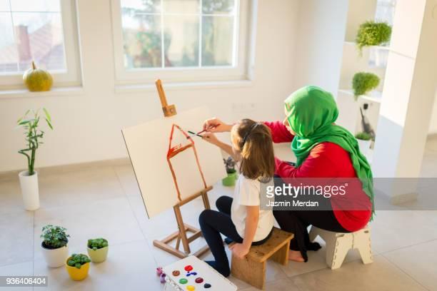 Fine art Muslim girl painting