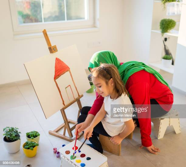 Fine art Muslim girl painting