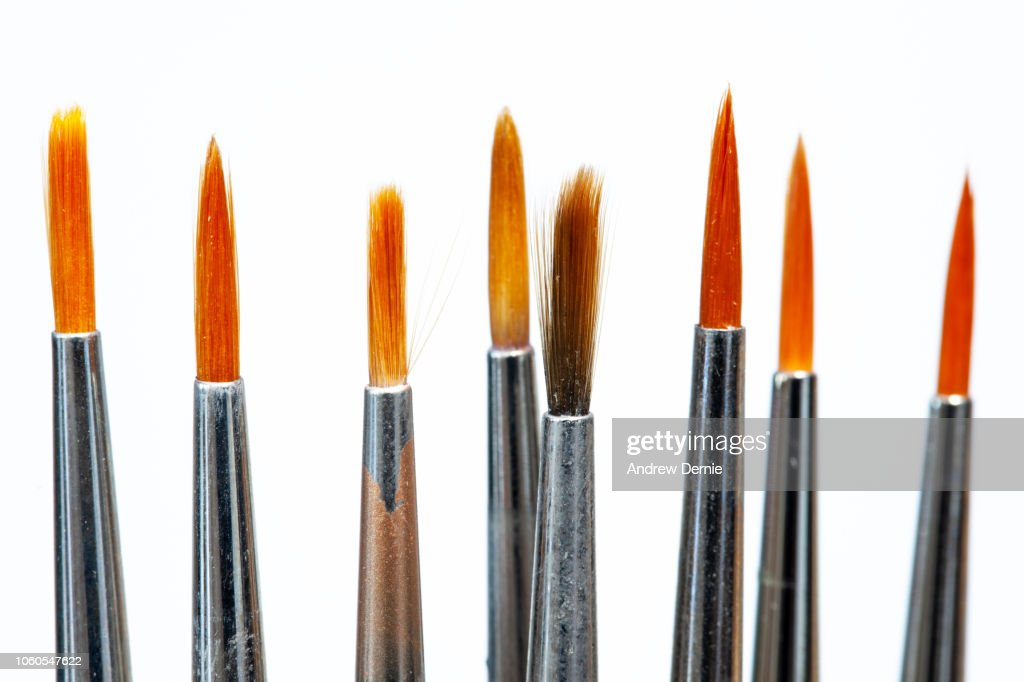 Fine Art Paint Brushes on a white background : Stock Photo