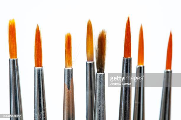 Fine Art Paint Brushes on a white background