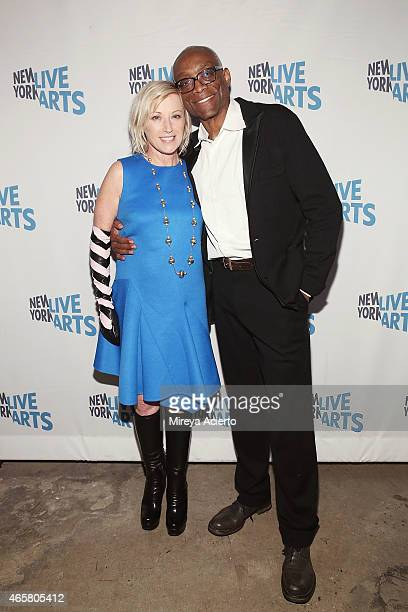 Fine art photographer Cindy Sherman and artistic director Bill T Jones attend New York Live Arts 2015 Gala at SIR Stage37 on March 10 2015 in New...