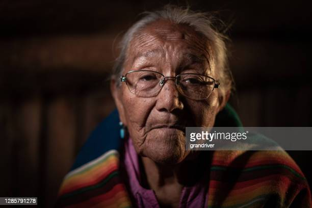 a fine art portrait of an elderly navajo grandmother in her authentic hogan in monument valley, arizona - the americas stock pictures, royalty-free photos & images