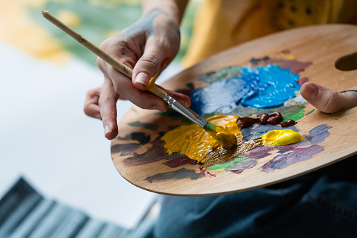 fine art school artist mix acrylic paint palette 1159292218