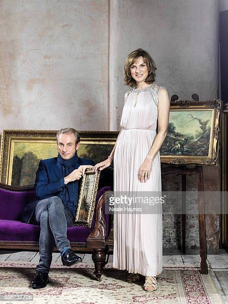 Fine art specialist Phillip Mould and tv presenter Fiona Bruce are photographed for the Daily Mail on July 5 2016 in London England
