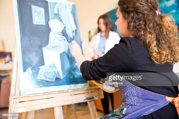 fine art students painting - high school musical: the musical: the series stock pictures, royalty-free photos & images