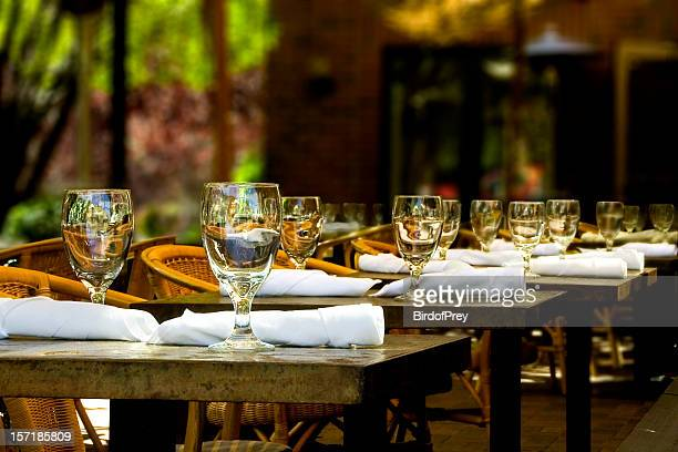 Fine Crystal Table Setting at a Restaurant.
