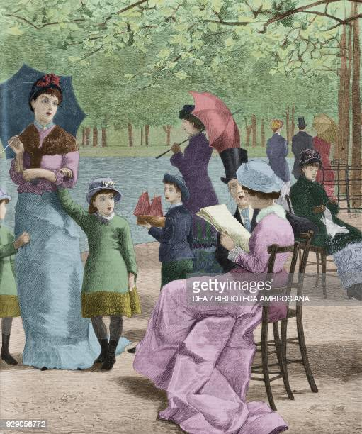A fine day in autumn by the Serpentine Kensington Gardens London United Kingdom detail illustration from the magazine The Graphic volume XX no 518...