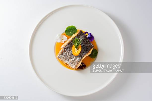 fine dining grilled sea bass - draufsicht stock-fotos und bilder
