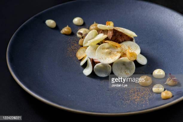 fine dining of 60 days grass beef - フランス料理 ストックフォトと画像