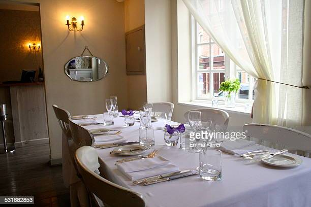 Fine dining restaurant set ready for service in Manchester UK
