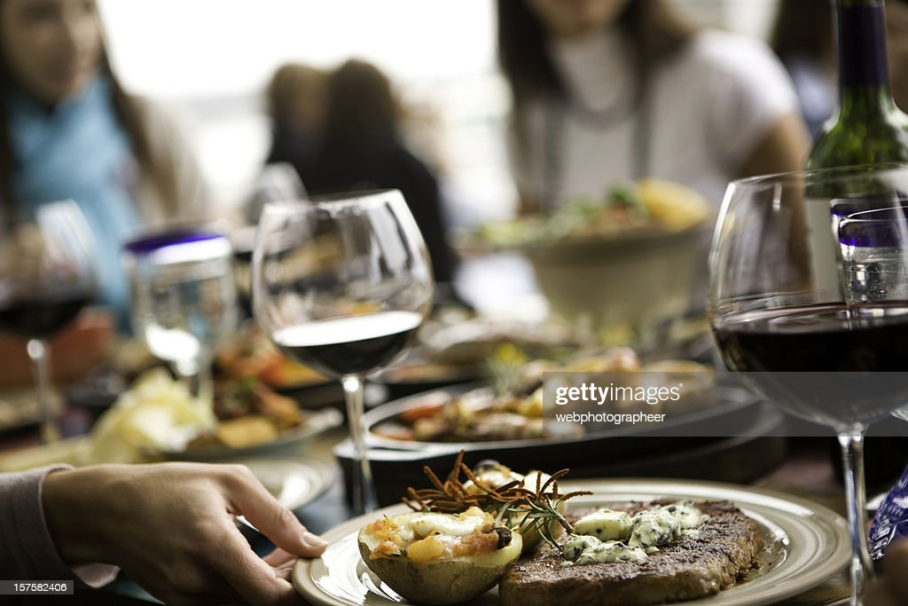 Fine dining with food and wine : Stock Photo