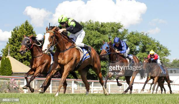Fine Evader ridden by Jamie Mott wins the Sportsbets Power Play BM58 Handicap at SportsbetBallarat Racecourse on November 28 2017 in Ballarat...