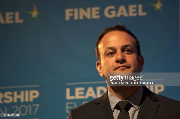 Fine Gael TD for Dublin West and Minister for Social Protection Leo Varadkar listens to a speech after his victory in the party leadership election...