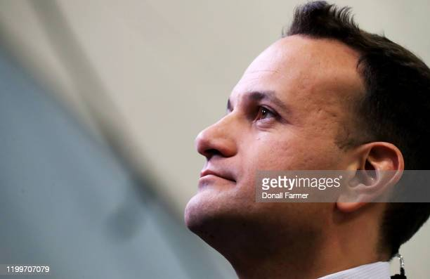 Fine Gael Leader Leo Varadkar gives an interview as he arrives at the count centre West Dublin on February 9 2020 in Dublin Ireland Ireland has gone...