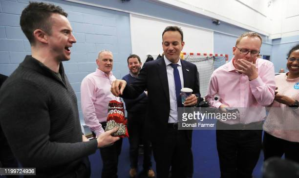 Fine Gael Leader Leo Varadkar jokes with his partner Matthew Barrett at the Dublin West count on February 9 2020 in Dublin Ireland Ireland has gone...